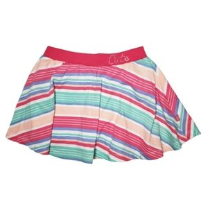 Girls Skort Skirt Stripes Pink Green Size 4T